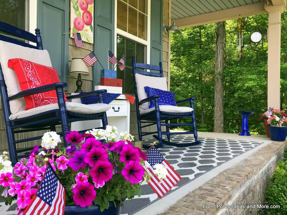 blue rocking chairs